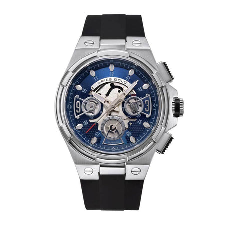 Aries Gold Men Watch | Silver Case Blue Skeleton Dial G 7003 S-BUS