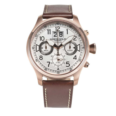 Aries Gold Rose Gold Chronograph Men's Sports Watch G 750A RG-SRG | Brown Strap