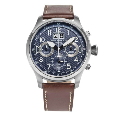 Aries Gold Silver Chronograph Men's Sports Watch G 750A S-BU | Blue Dial Brown Strap