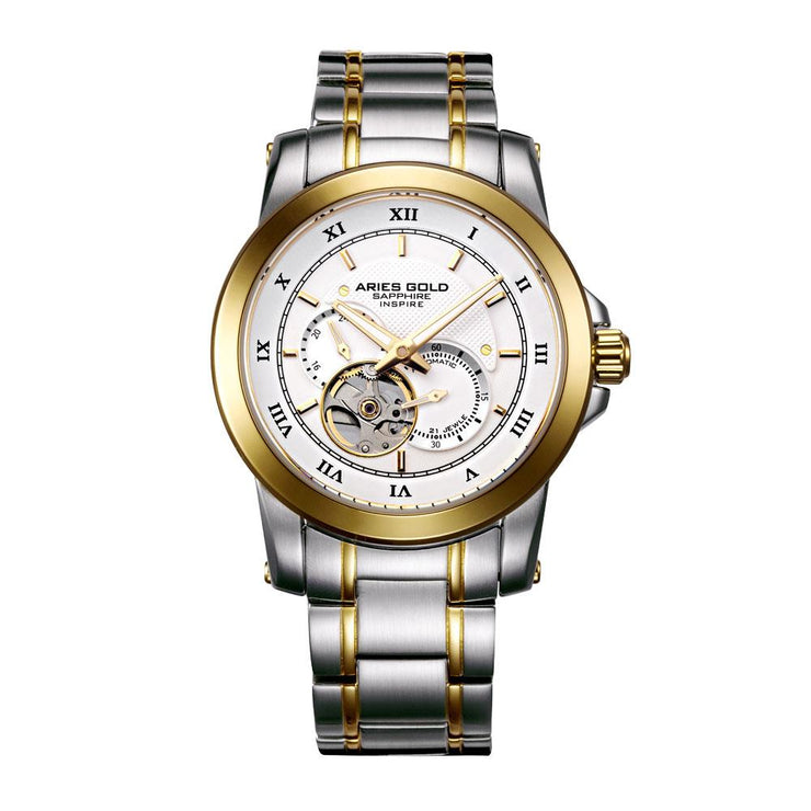 Aries Gold Men Two Tone Gold Automatic Watch G 9001 2TG-W | Stainless Steel Strap