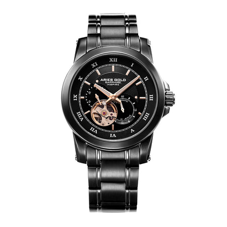 Aries Gold Men Black Case Black Dial Automatic Watch G 9001 BK-BK | Stainless Steel Strap