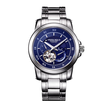 Aries Gold Men Silver Case Blue Dial Automatic Watch G 9001 S-BU | Stainless Steel Strap