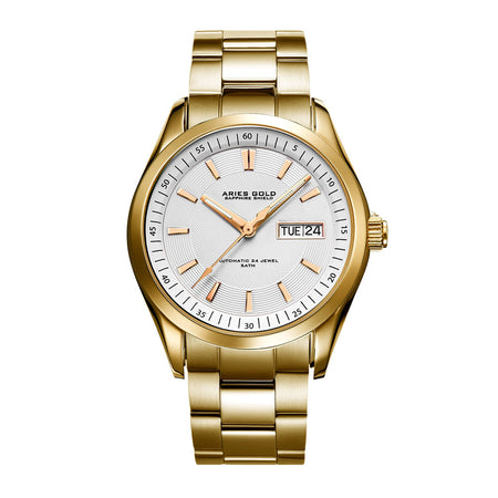 Aries Gold Men G 9004 G-W Automatic Day-date Gold Stainless Steel Watch