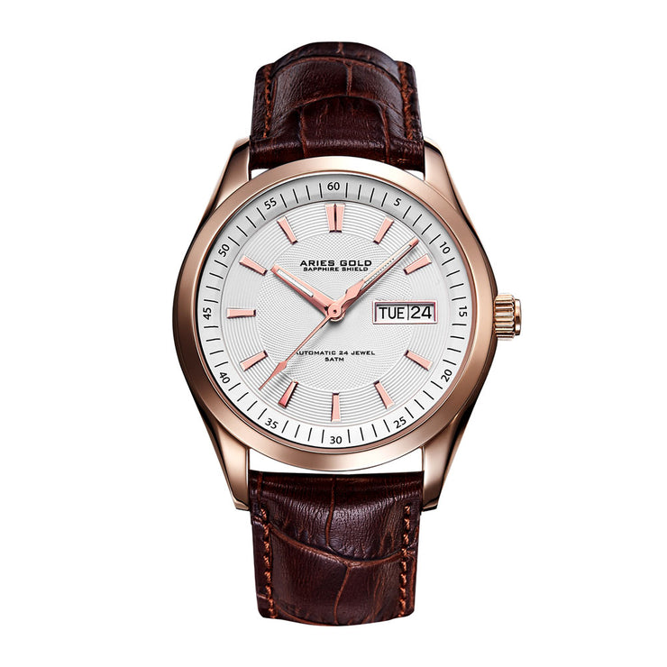 Aries Gold Men G 9004 RG-W Automatic Day-date Watch | Rose Gold Case Brown Strap