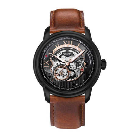 Aries Gold Men Black Automatic Watch G 9005 BK-BK | Black Skeleton Dial Brown Strap