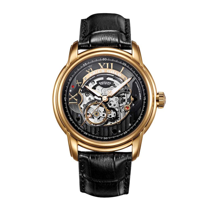Aries Gold Men Automatic Gold Watch G 9005 G-BK | Black Skeleton Dial Black Strap