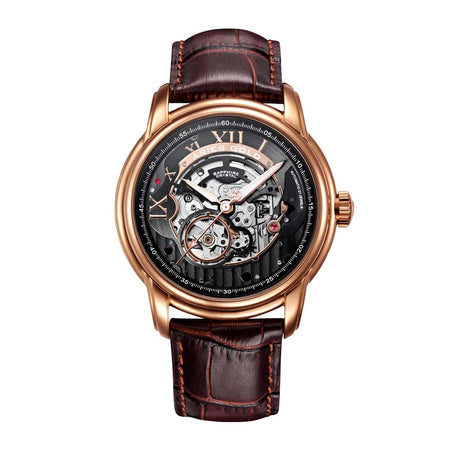 Aries Gold Men Automatic Rose Gold Watch G 9005 RG-W | Black Skeleton Dial Brown Strap