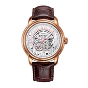 Aries Gold Men Automatic Rose Gold Watch G 9005 RG-S | Silver Skeleton Dial Black Strap