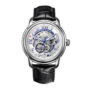 Aries Gold Men Automatic Silver Watch G 9005 S-S | Silver Skeleton Dial Black Strap