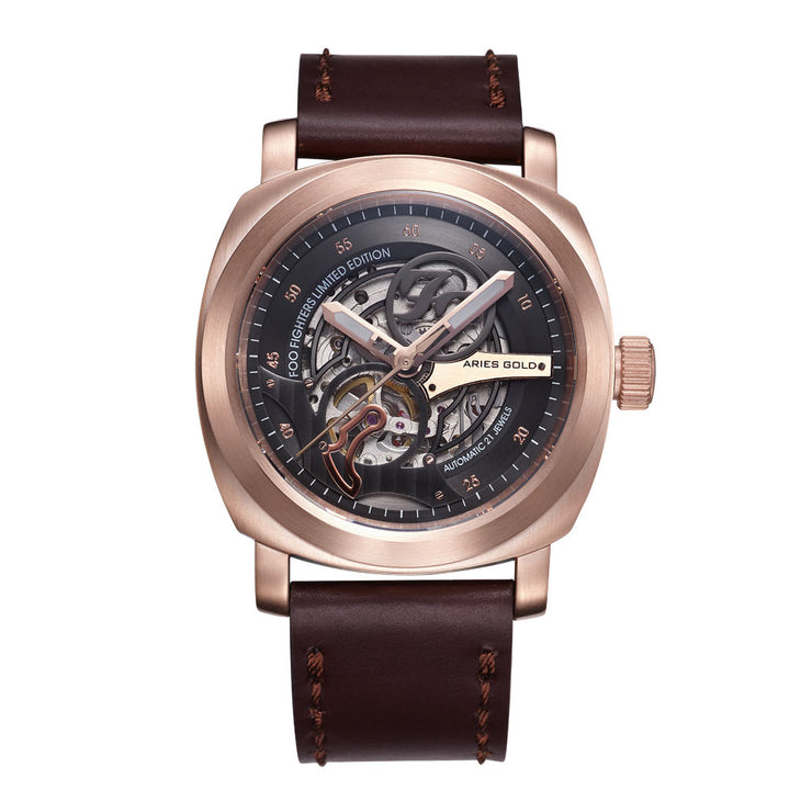 Aries Gold Men Rose Gold Watch | Foo Fighters Limited Edition | Automatic Skeleton