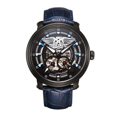 Limited Edition Watch | Aries Gold Watches | Black Case | Black Dial | Skeleton Watch | Blue Genuine Leather Strap