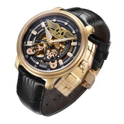 Limited Edition Watch | Aries Gold Watches | Gold Case | Black Dial | Skeleton Watch | Black Genuine Leather Strap