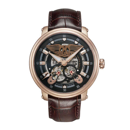 Limited Edition Watch | Aries Gold Watches | Rose Gold Case | Black Dial | Skeleton Watch | Brown Genuine Leather Strap