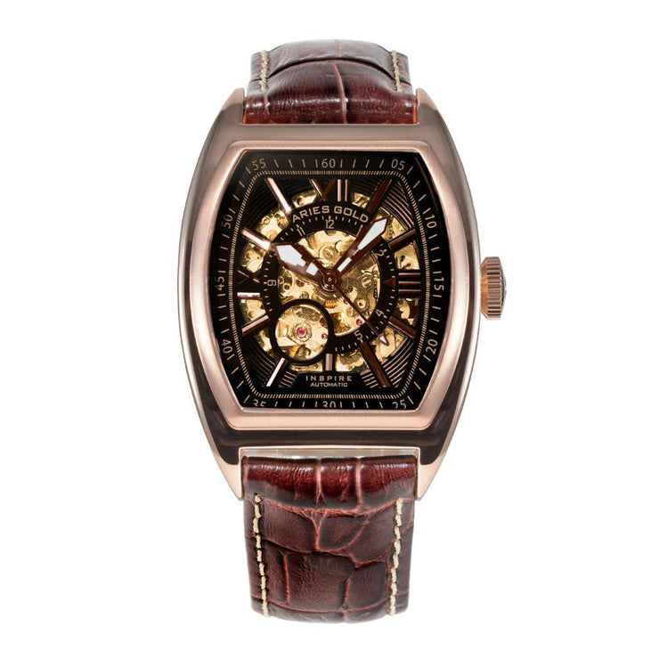 Aries Gold Men Rose Gold Automatic Skeleton Watch G 901 RG-BKRG | Brown Leather Strap