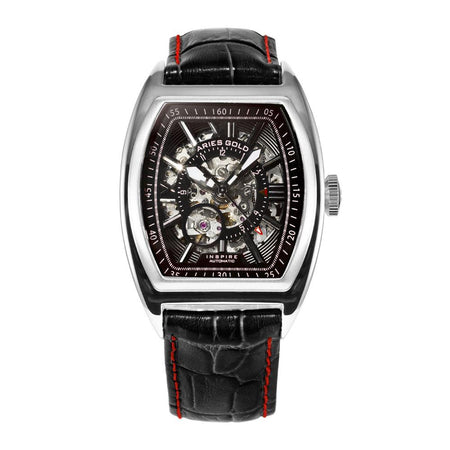 Aries Gold Men Silver Automatic Skeleton Watch G 901 S-BKR | Black Leather Strap