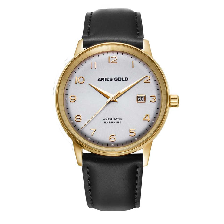 Aries Gold Men Japan Automatic Gold Analog Watch G 9010 G-SG | Silver Dial Black Strap