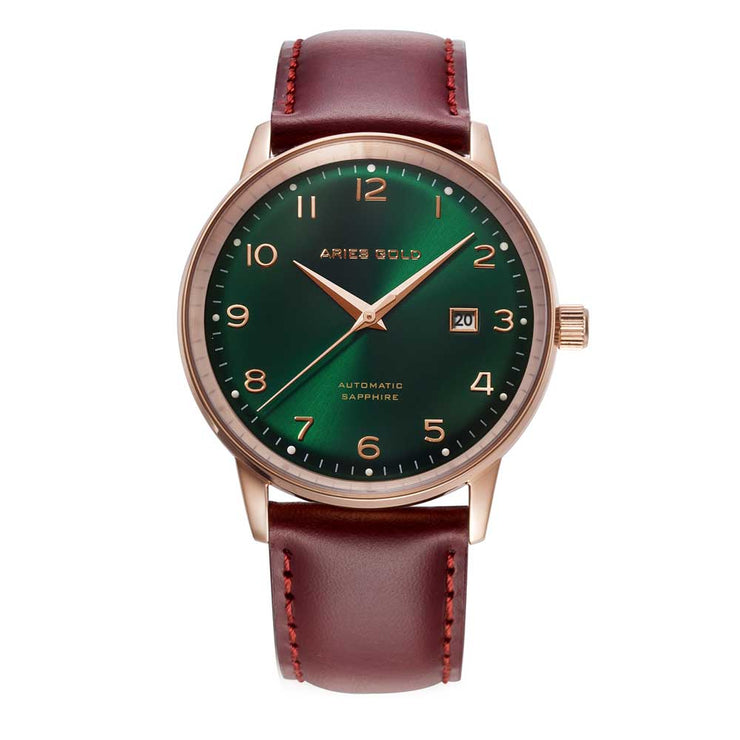 Aries Gold Men Japan Automatic Rose Gold Analog Watch G 9010 RG-GN | Green Dial Brown Strap