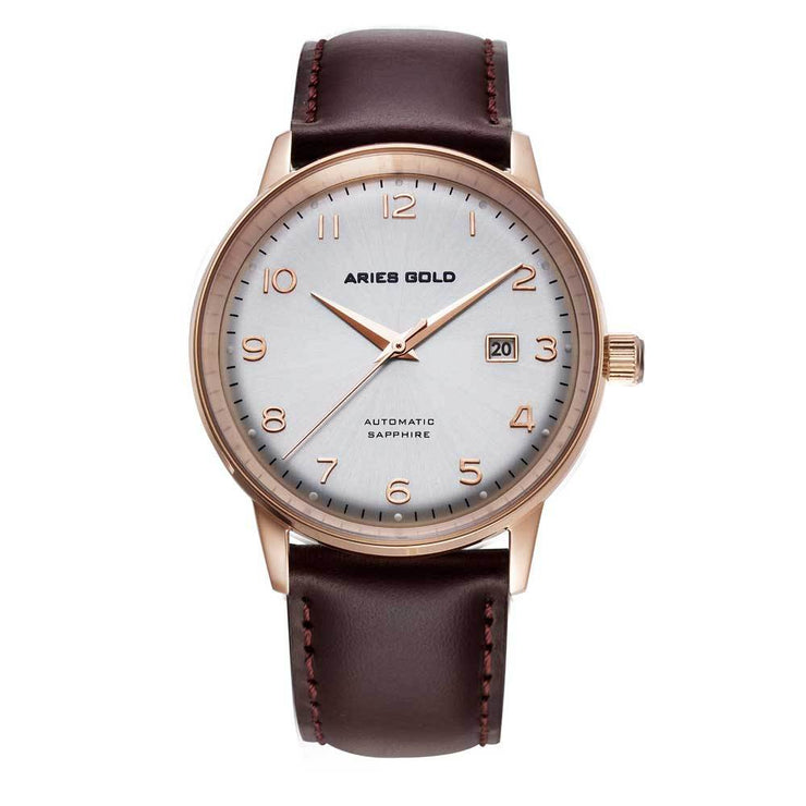 Aries Gold Men Japan Automatic Rose Gold Analog Watch G 9010 RG-SRG | Silver Dial Brown Strap