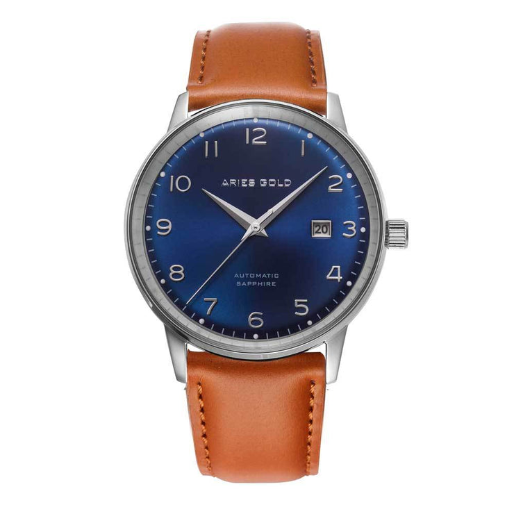 Aries Gold Men Japan Automatic Silver Analog Watch G 9010 S-BU | Blue Dial Brown Strap