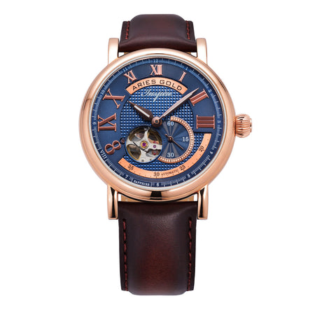Aries Gold Men Rose Gold Open Heart Automatic Watch G 903 RG-BU | Blue Dial Brown Strap