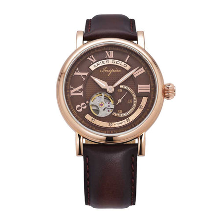 Aries Gold Men Rose Gold Open Heart Automatic Watch G 903 RG-CF | Brown Dial Brown Strap