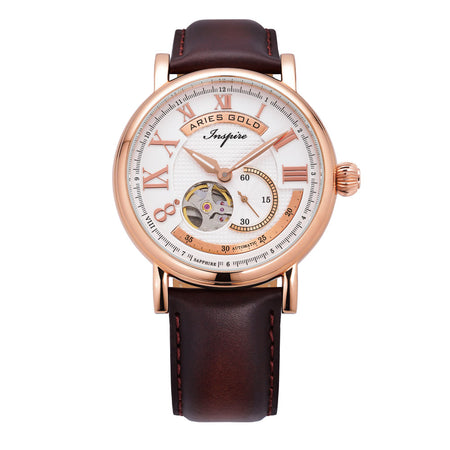 Aries Gold Men Rose Gold Open Heart Automatic Watch G 903 RG-W | White Dial Brown Strap