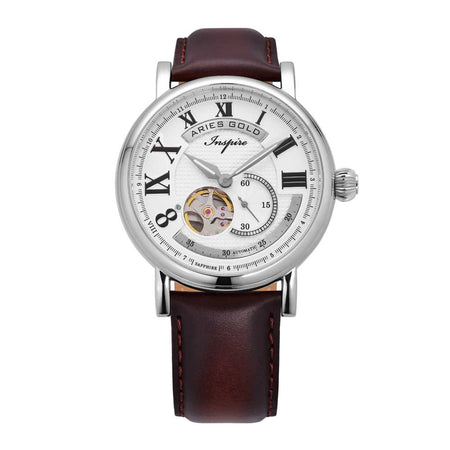 Aries Gold Men Silver Case Open Heart Automatic Watch G 903 S-W | White Dial Brown Strap