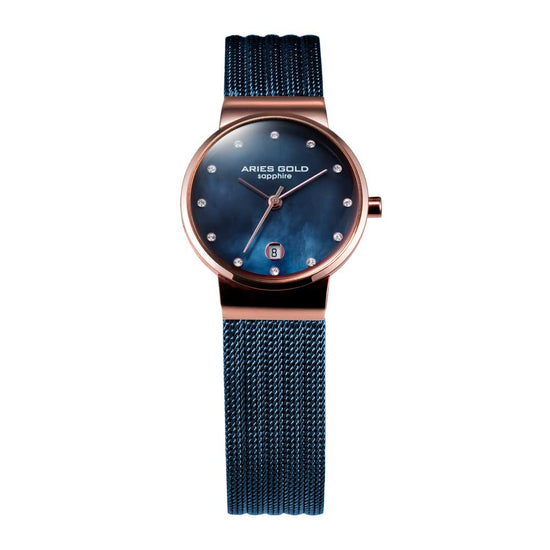 Aries Gold Women | Blue Ladies Watch L 5002 2TR-BUMP | Steel Wire Mesh