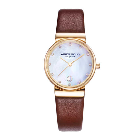 Aries Gold Women | Rose Gold Ladies Watch L 5002 G-MOP-L | Brown Strap