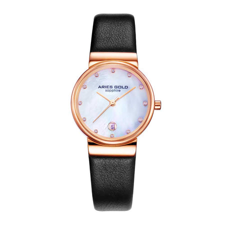 Aries Gold Women | Rose Gold Ladies Watch L 5002 RG-MOP-L | Black Strap