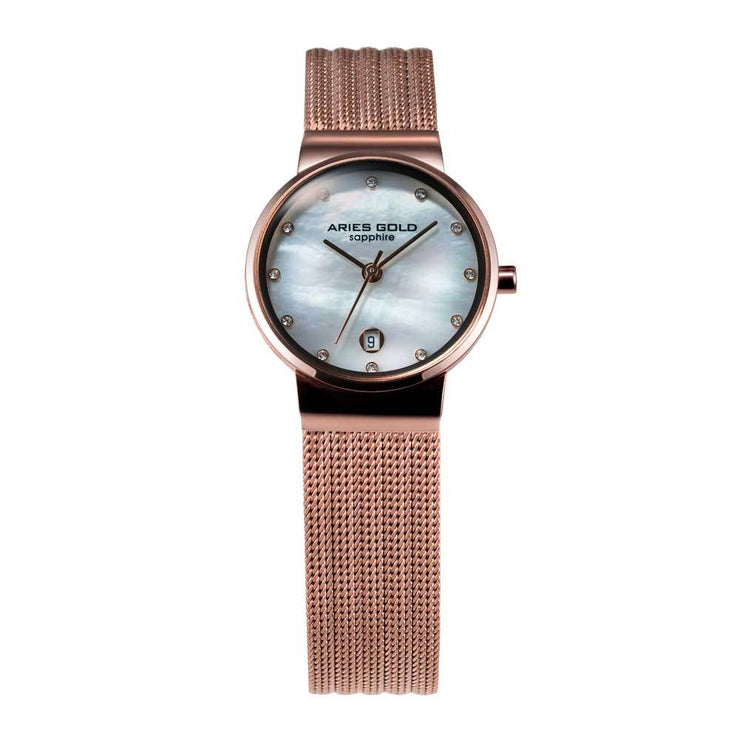Aries Gold Women | Rose Gold Ladies Watch L 5002 RG-MOP | Steel Wire Mesh