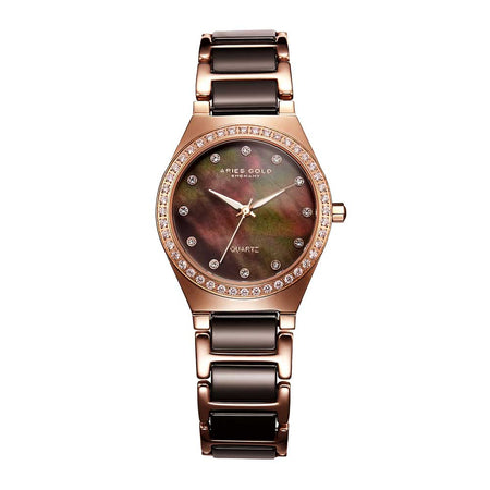 Aries Gold Women | Brown Ceramic Rose Gold Watch L 5014Z RG-BRMOP