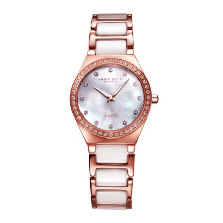 Aries Gold Women | White Ceramic Rose Gold Watch L 5014Z RG-MOP