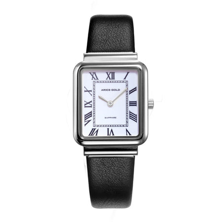 Aries Gold Women | Ladies Silver Watch L 5032Z S-W-L |  Rectangle Dial Black Strap