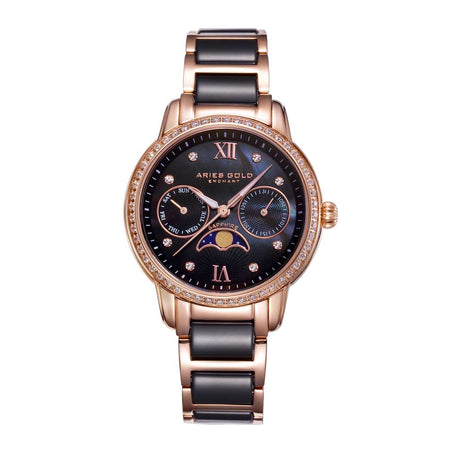 Aries Gold Women | Black Ceramic Rose Gold Ladies Watch L 58010L RG-BKMP