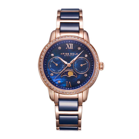 Aries Gold Women | Blue Ceramic Rose Gold Ladies Watch L 58010L RG-BUMP