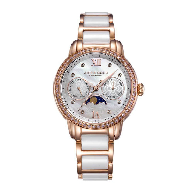 Aries Gold Women | White Ceramic Rose Gold Watch L 58010L RG-MP