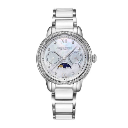 Aries Gold Women | White Ceramic Silver Ladies Watch L 58010L S-MP