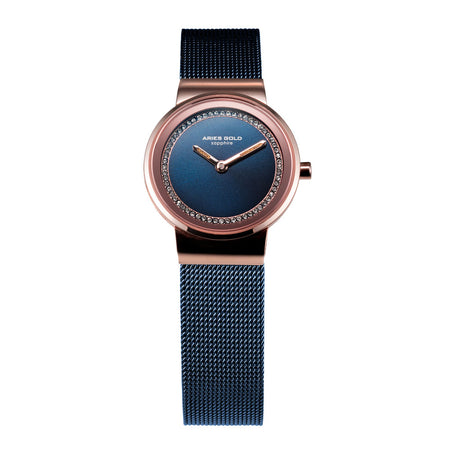 Aries Gold Women | Rose Gold Blue Ladies Watch L 5003 2TR-BU |  Steel Wire Mesh