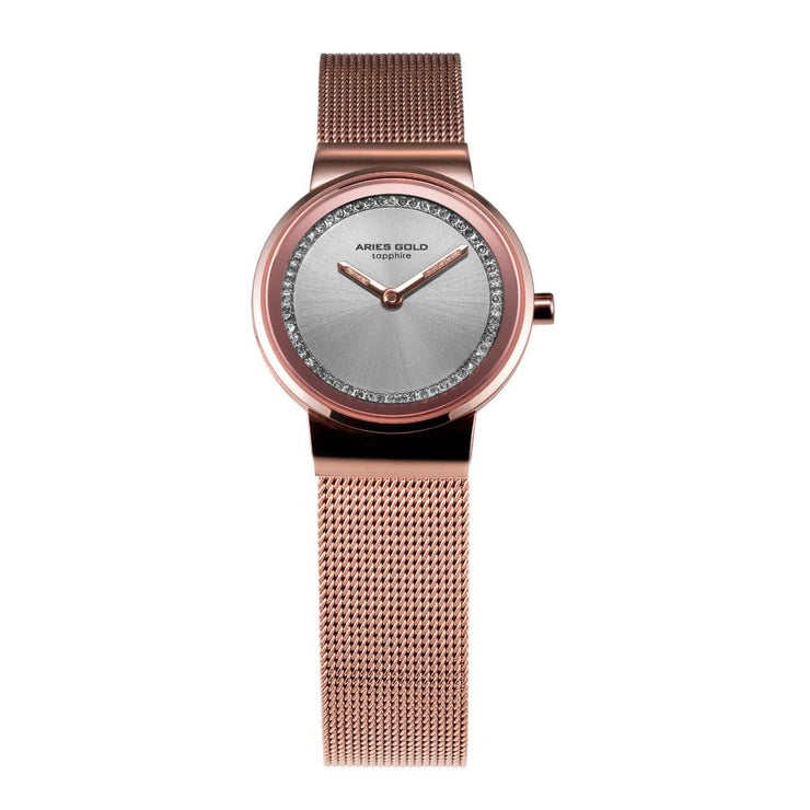 Aries Gold Women | Rose Gold Classic Ladies Watch L 5003 RG-S |  Steel Wire Mesh