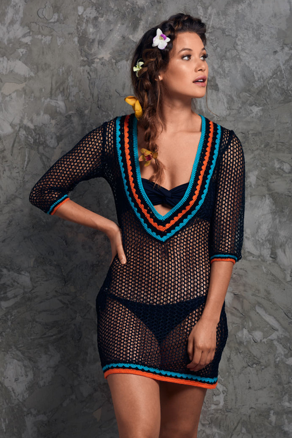 Crochet Black Mesh beach Cover up Palmazul Beachwear short dress Front