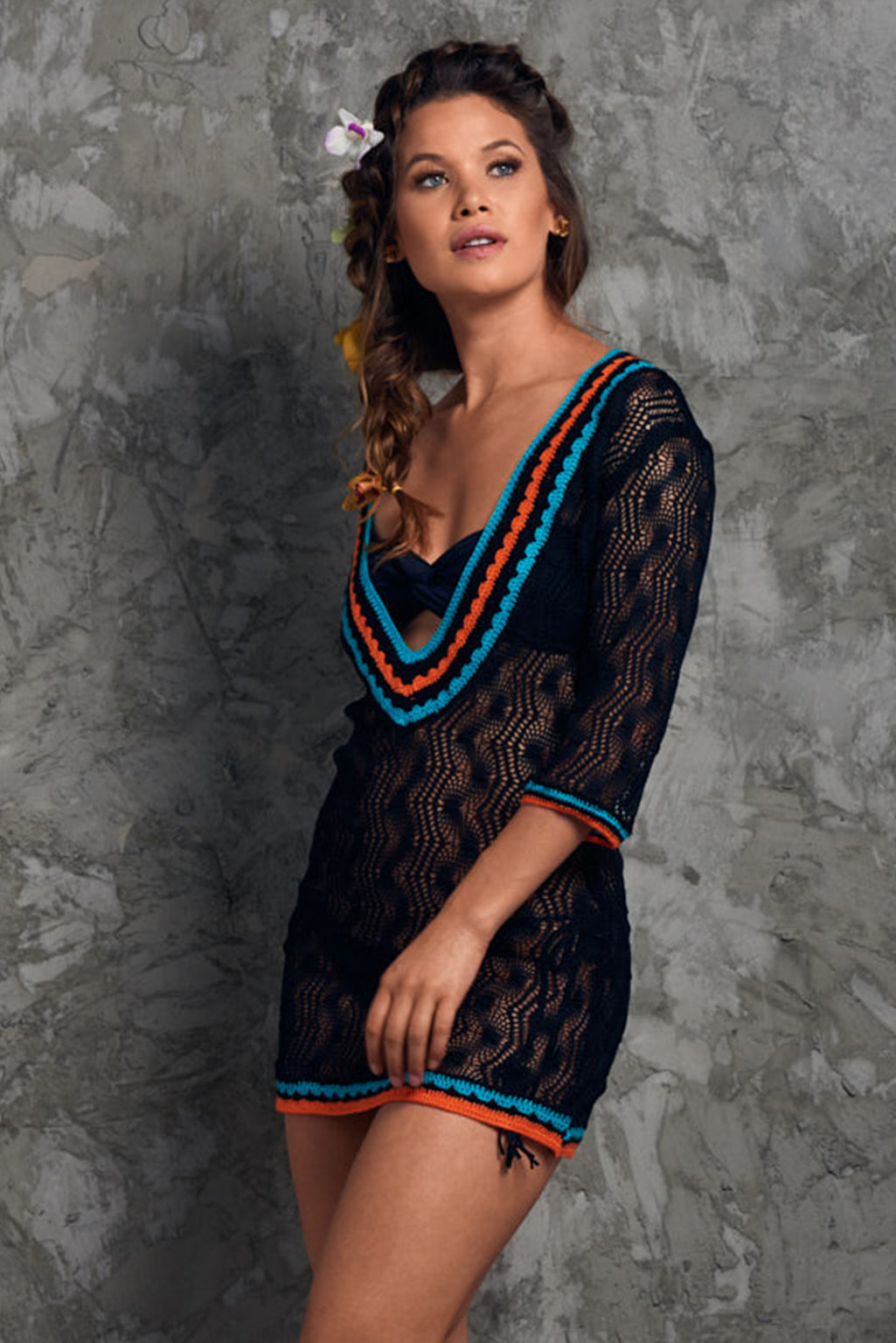 Crochet Black beach Cover up Palmazul Beachwear short dress Side
