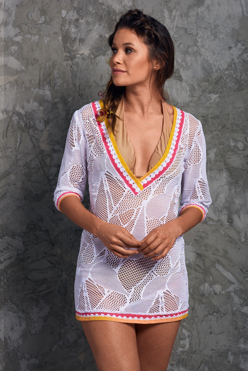 Crochet White beach Cover up Palmazul Beachwear short dress Front