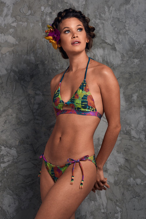 Cute bikini with green tropical print and beaded ties Gorgona Orchids Palmazul Beachwear Side