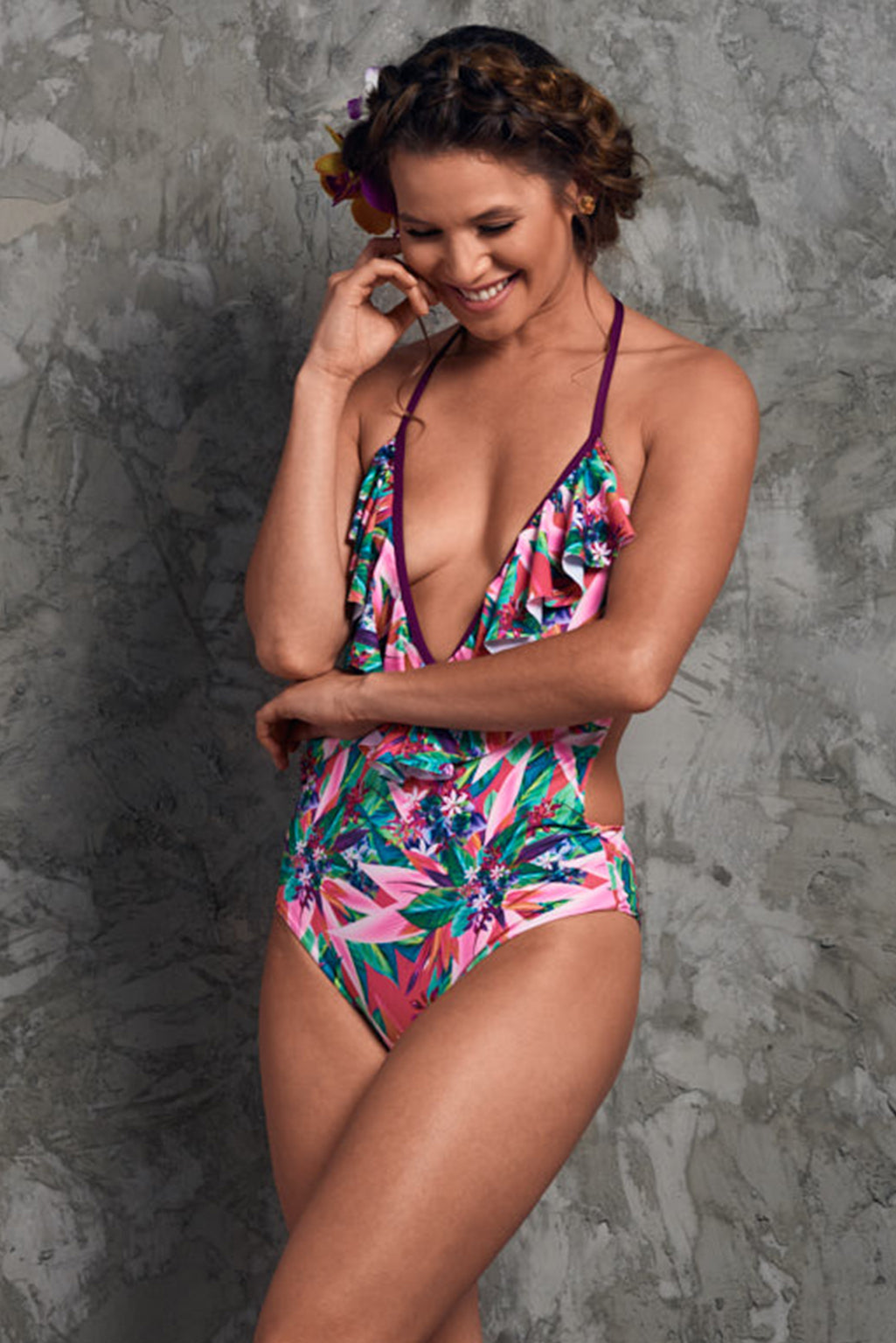 Pink and green one piece swimsuit with frill Baru Flower One Piece Palmazul Beachwear Side