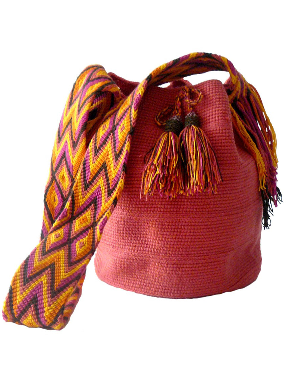 Pink woven shoulder bag with tassels and beads Palmazul Beachwear Wayuu Mochila