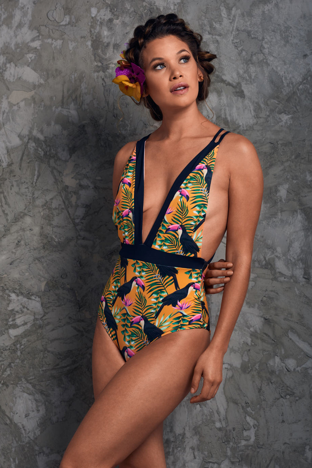 Sexy yellow one piece swimsuit tropical print Capurgana Toucans One Piece Palmazul Beachwear Side