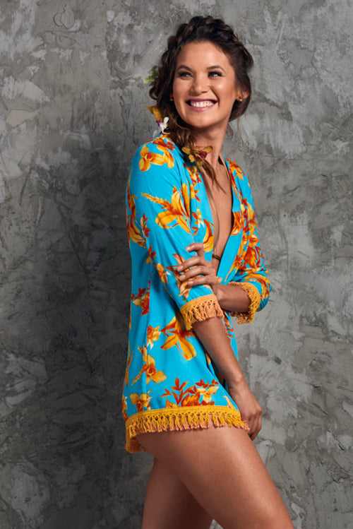 Short Summer Flowers Kimono Palmazul Beachwear Side blue and orange beach cover up with tassels