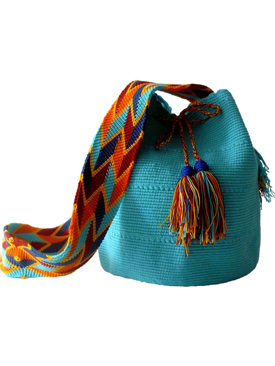 Turquoise woven shoulder bag with tassels and beads Palmazul Beachwear Wayuu Mochila