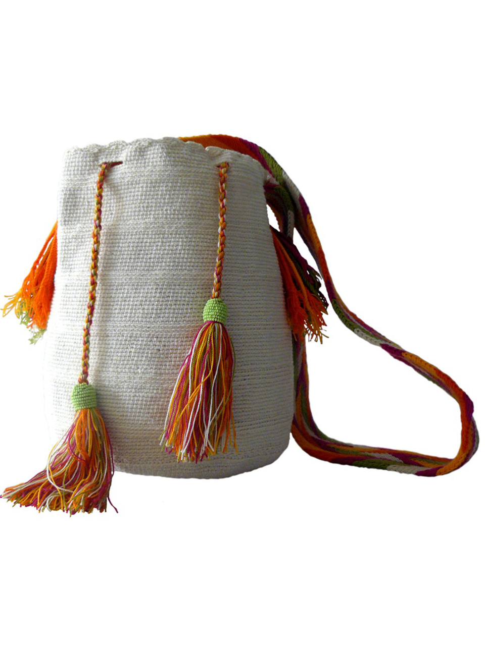 White woven shoulder bag with tassels and beads Palmazul Beachwear Wayuu Mochila